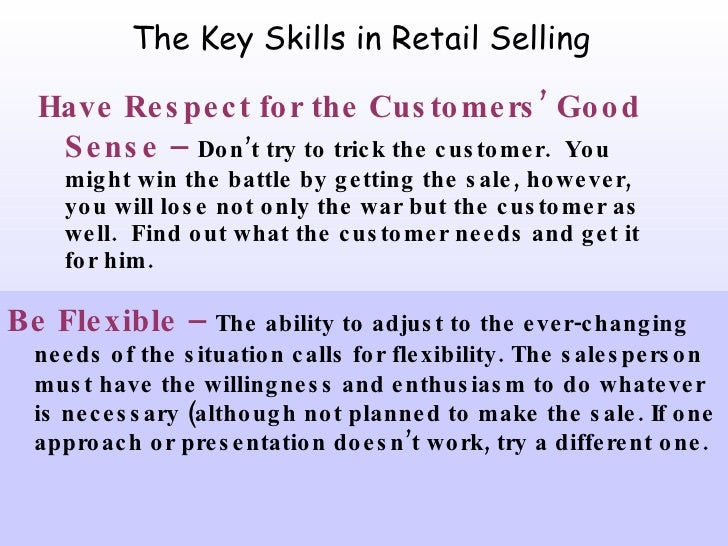 skills needed to work in retail