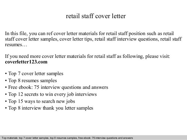 Retail staff cover letter – Sample Cover Letter for Retail Assistant