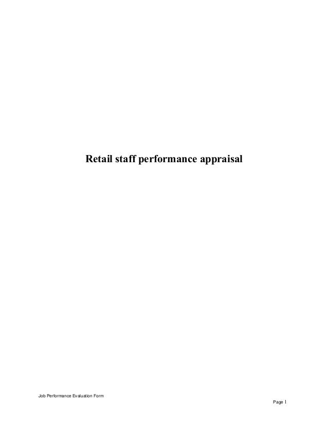 Retail staff performance appraisal Job Performance Evaluation Form Page 1