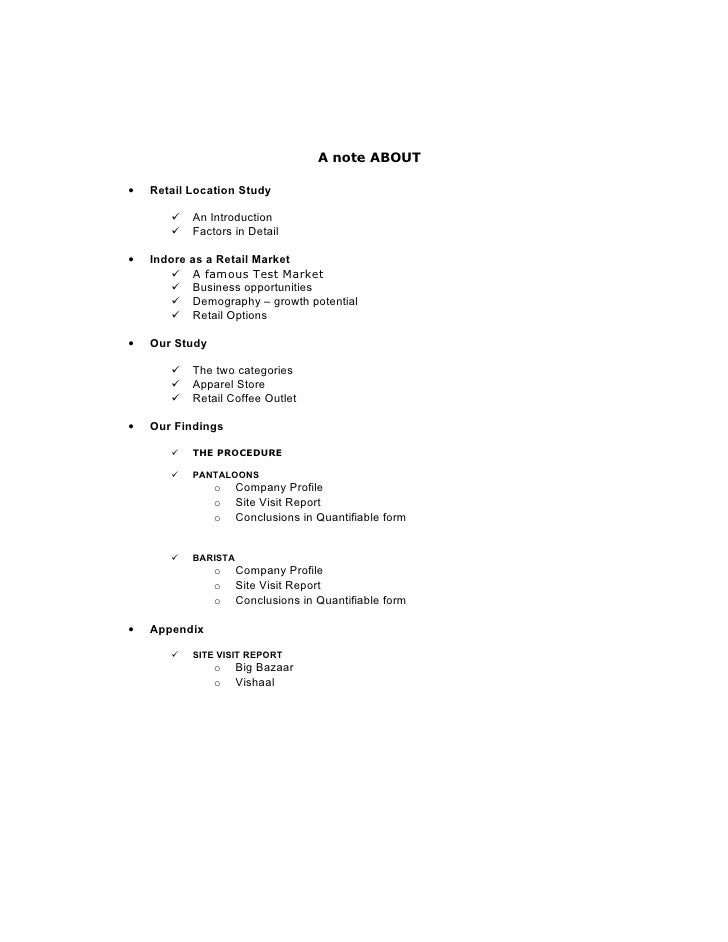 A note ABOUT  •   Retail Location Study            An Introduction           Factors in Detail  •   Indore as a Retail M...