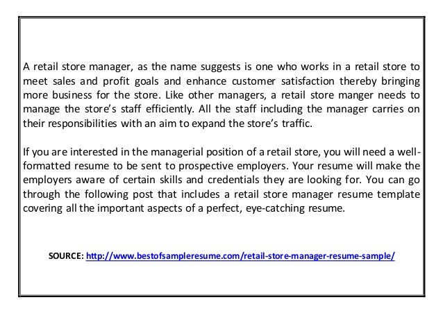 RETAIL STORE MANAGER RESUME SAMPLE Www.bestofsampleresume.com; 2.  Sample Retail Manager Resume
