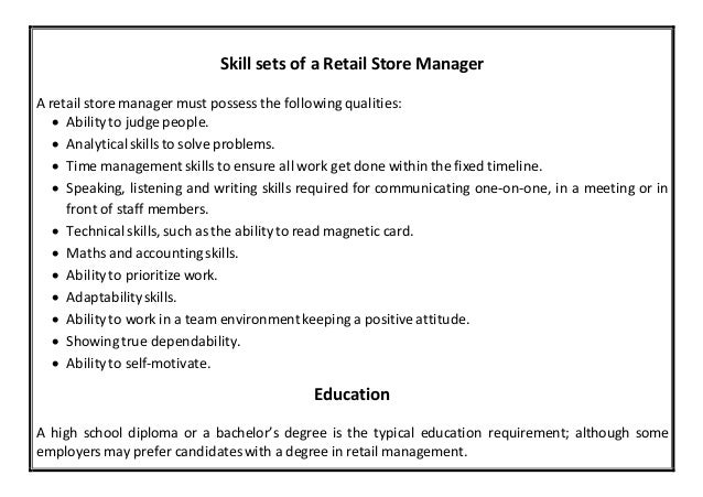 Retail Store Manager Resume - Ex