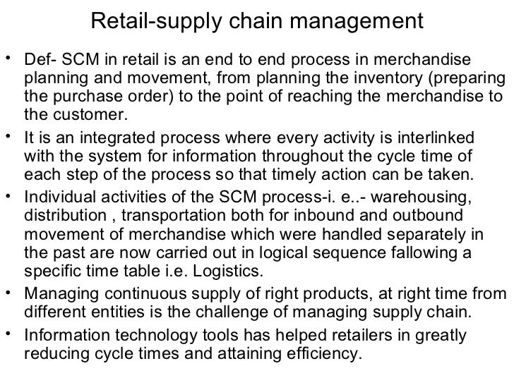 The supply chain operations management of retailers