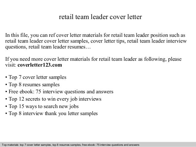 Team Leader Resume Cover Letter Retail Team Leader Cover Letter - Process leader cover letter