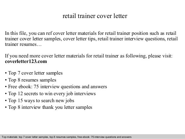 Retail trainer cover letter