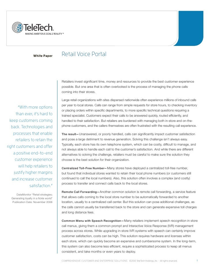 White Paper          retail voice portal                                          Retailers invest significant time, money...
