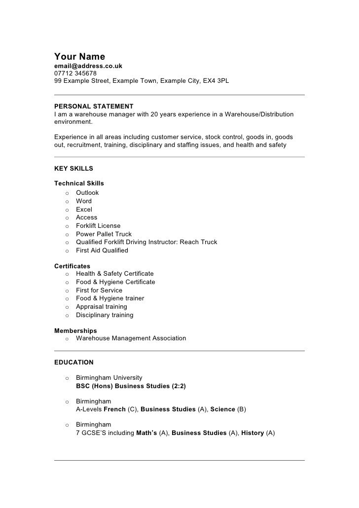 Retail Warehouse Manager Resume Sample. Your Nameemail@address.co.uk07712  34567899 Example Street, Example Town, ...  Warehouse Resume Template