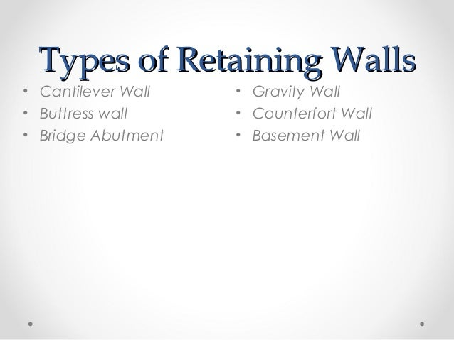 Retaining walls for Types of basement walls