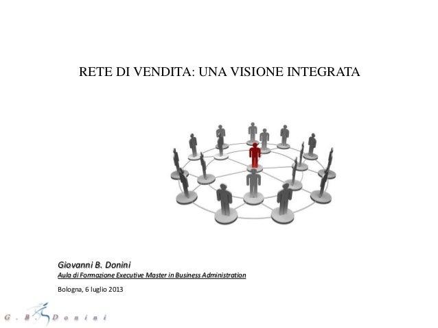 RETE DI VENDITA: UNA VISIONE INTEGRATA Giovanni B. Donini Aula di Formazione Executive Master in Business Administration B...