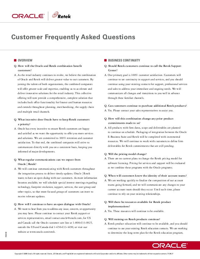 Customer Frequently Asked Questions              OVERVIEW                                                                 ...