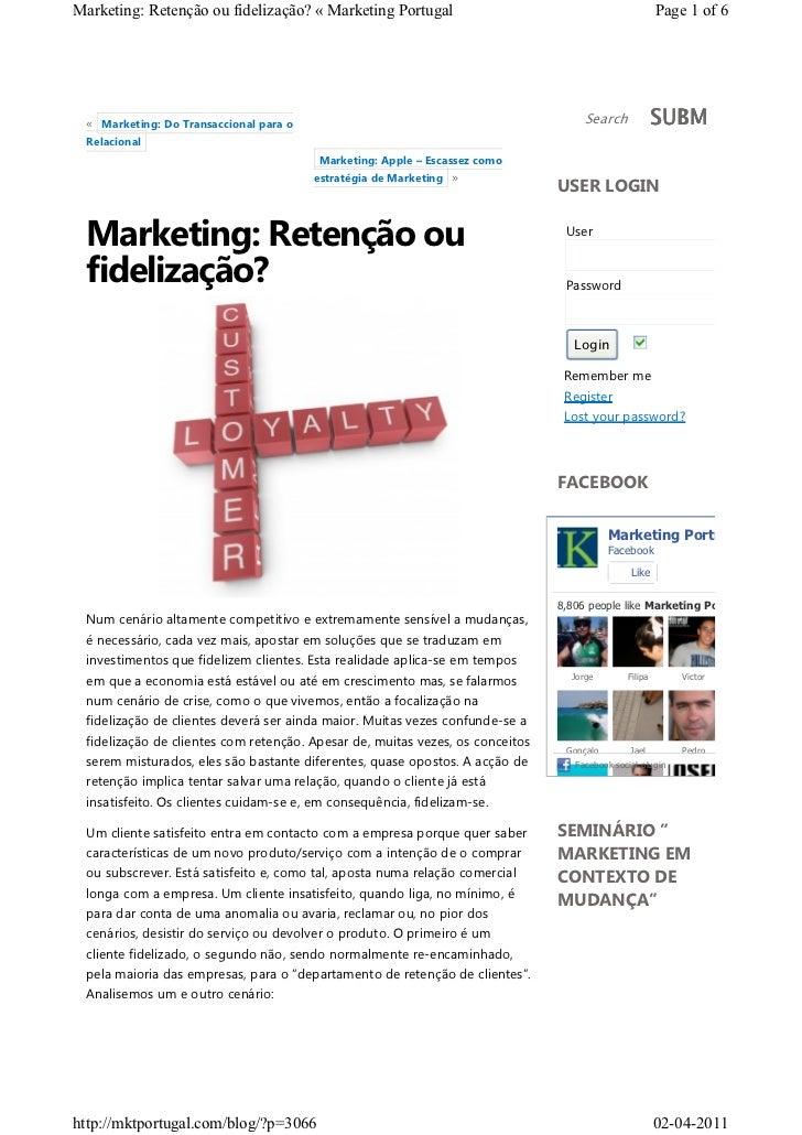 Marketing: Retenção ou fidelização? « Marketing Portugal                                               Page 1 of 6 « Marke...