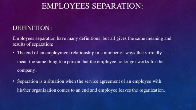 Retention and Separation