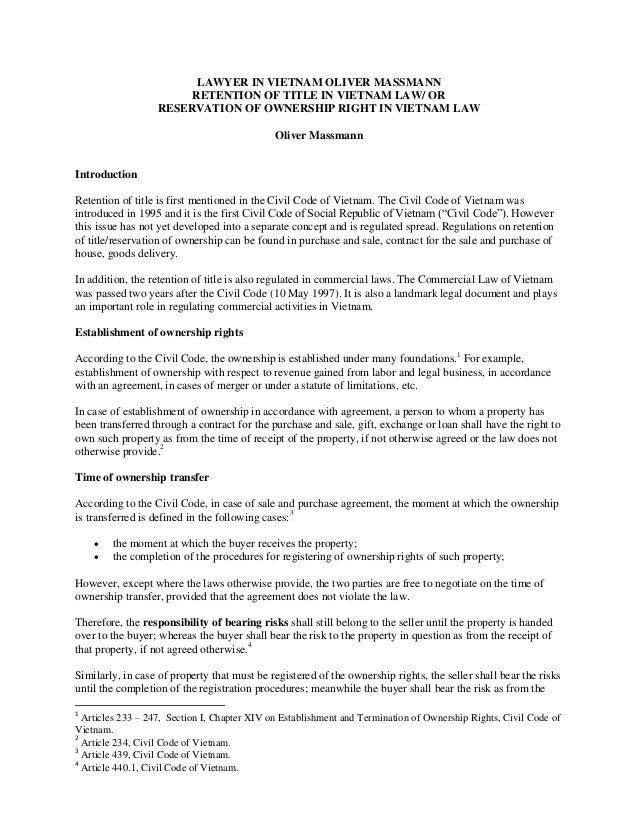 Retention Of Title Under Vietnamese Law - Legal document of agreement