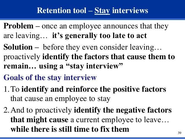 38 39 Retention Tool Stay Interviews