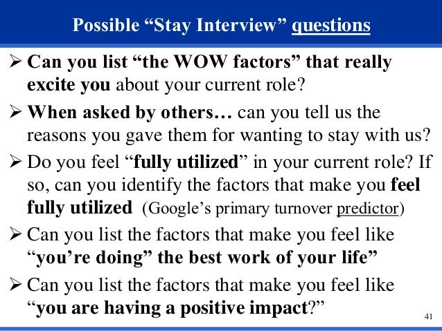 40 41 Possible Stay Interview Questions