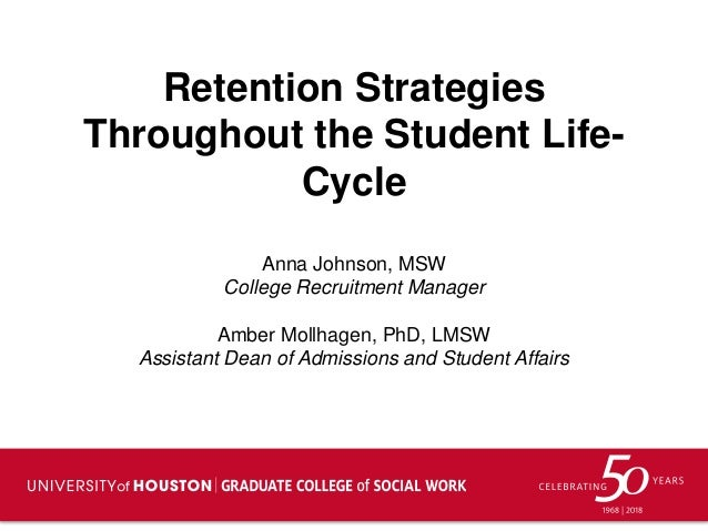 Retention Strategies Throughout the Student Life- Cycle Anna Johnson, MSW College Recruitment Manager Amber Mollhagen, PhD...