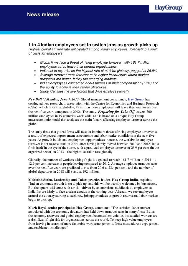 News release1 in 4 Indian employees set to switch jobs as growth picks upHighest global attrition rate anticipated among I...