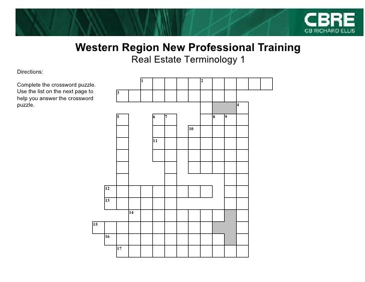 Western Region New Professional Training                                               Real Estate Terminology 1 Direction...