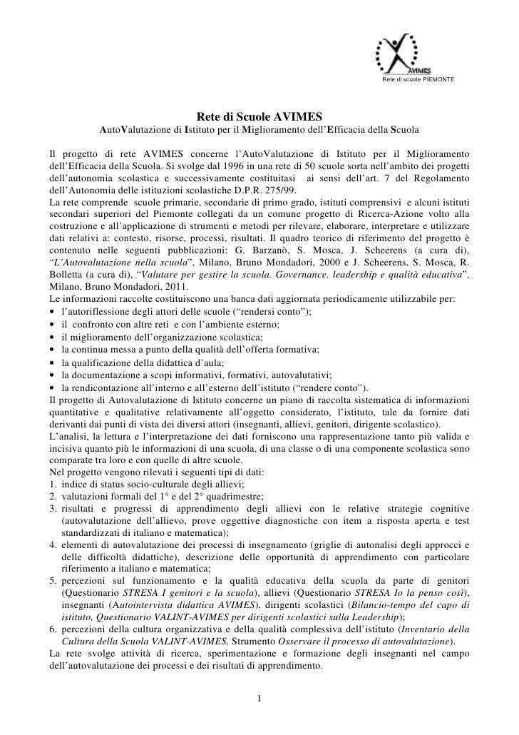 Rete di scuole PIEMONTE                                    Rete di Scuole AVIMES            AutoValutazione di Istituto pe...