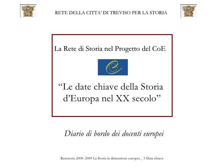 RETE DELLA CITTA' DI TREVISO PER LA STORIA Retestoria 2008 -2009 La Storia in dimensione europea _ 5 Date chiave La Rete d...