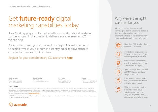 Get future-ready digital marketing capabilities today 7 Why we're the right partner for you We blend creativity, innovatio...