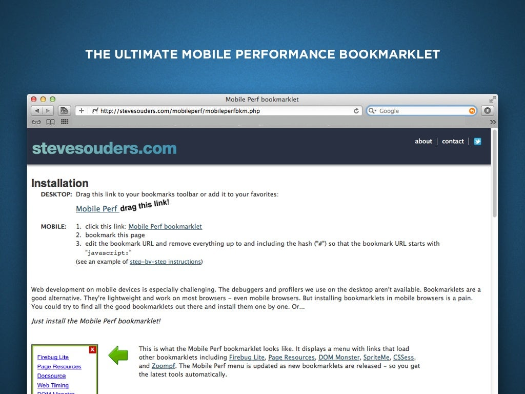 THE ULTIMATE MOBILE PERFORMANCE BOOKMARKLET