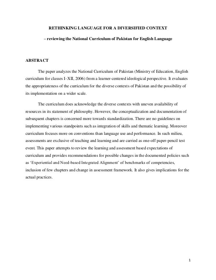 RETHINKING LANGUAGE FOR A DIVERSIFIED CONTEXT           – reviewing the National Curriculum of Pakistan for English Langua...