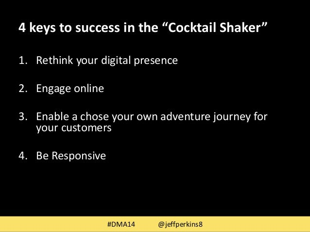 """4 keys to success in the """"Cocktail Shaker""""  1. Rethink your digital presence  2. Engage online  3. Enable a chose your own..."""