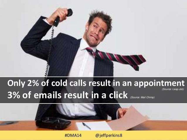 Only 2% of cold calls result in an appointment  (Source: Leap Job)  3% of emails result in a click (Source: Mail Chimp)  #...