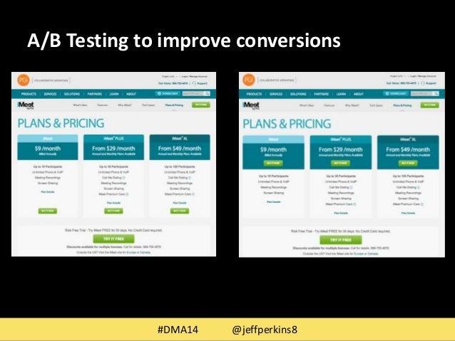 A/B Testing to improve conversions  #DMA14 @jeffperkins8