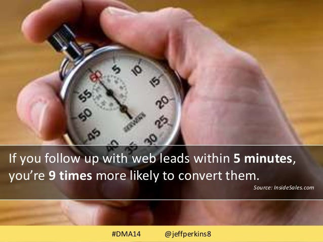 If you follow up with web leads within 5 minutes,  you're 9 times more likely to convert them.  Source: InsideSales.com  #...