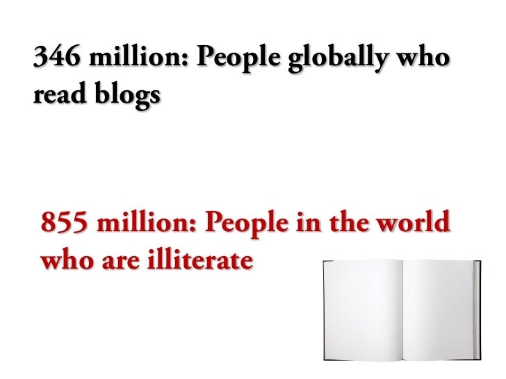 346 million: People globally who read blogs    855 million: People in the world who are illiterate