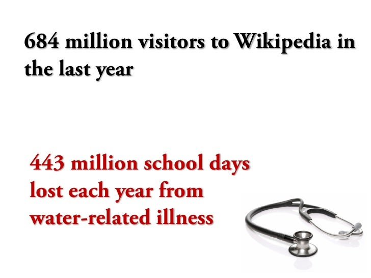 684 million visitors to Wikipedia in the last year    443 million school days lost each year from water-related illness