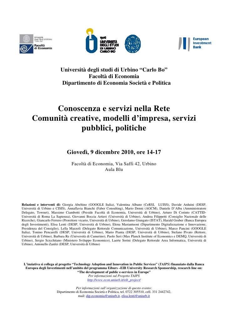 """Università degli studi di Urbino """"Carlo Bo""""                                     Facoltà di Economia                       ..."""