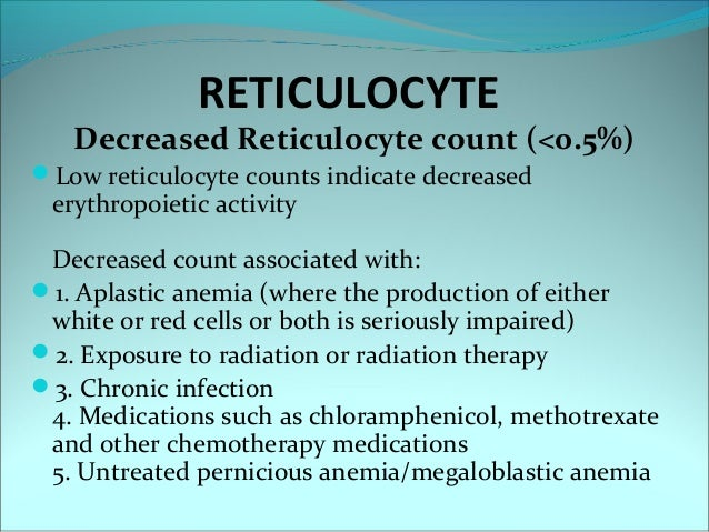 reticulocyte count, Skeleton