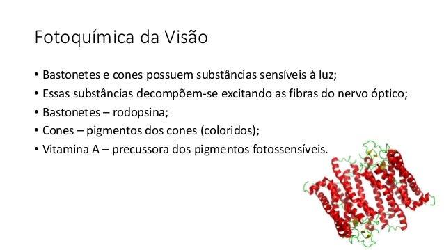 Fotoquímica da Visão • Bastonetes e cones possuem substâncias sensíveis à luz; • Essas substâncias decompõem-se excitando ...