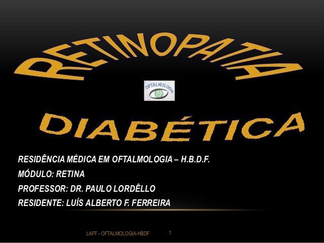 RESIDÊNCIA MÉDICA EM OFTALMOLOGIA – H.B.D.F. MÓDULO: RETINA PROFESSOR: DR. PAULO LORDÊLLO RESIDENTE: LUÍS ALBERTO F. FERRE...