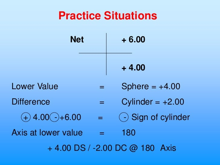 Practice Situations               Net        + 6.00                          + 4.00Lower Value           =   Sphere = +4.0...