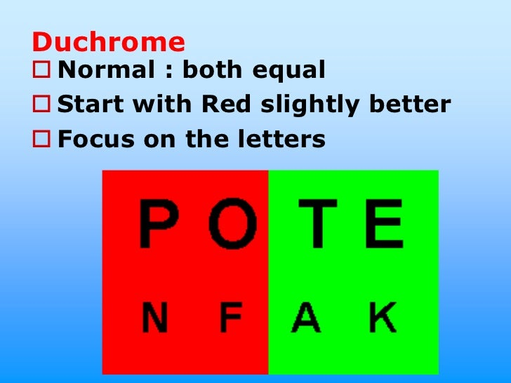 Duchrome Normal : both equal Start with Red slightly better Focus on the letters