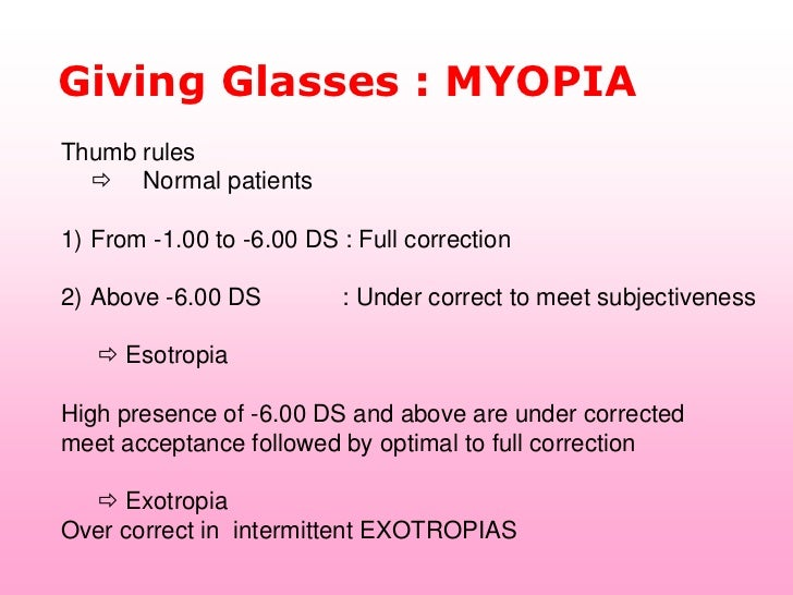 Giving Glasses : MYOPIAThumb rules   Normal patients1) From -1.00 to -6.00 DS : Full correction2) Above -6.00 DS        ...