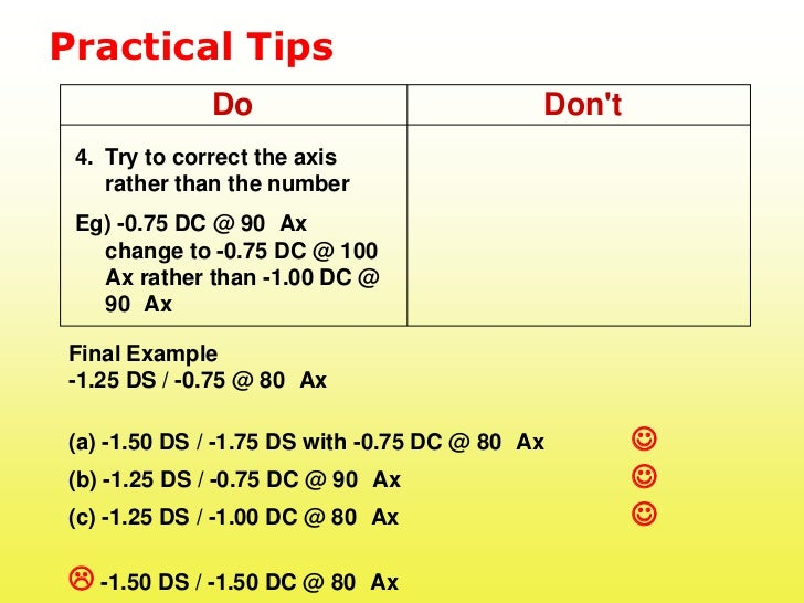 Practical Tips             Do                             Dont 4. Try to correct the axis    rather than the number Eg) -0...