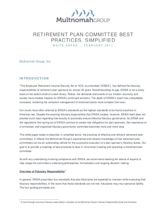 RETIREMENT PLAN COMMITTEE BEST                       PRACTICES, SIMPLIFIED                                          WHITE ...