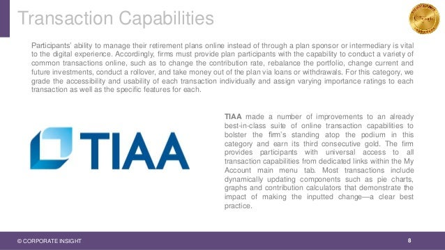 Transaction Capabilities 8 Participants' ability to manage their retirement plans online instead of through a plan sponsor...