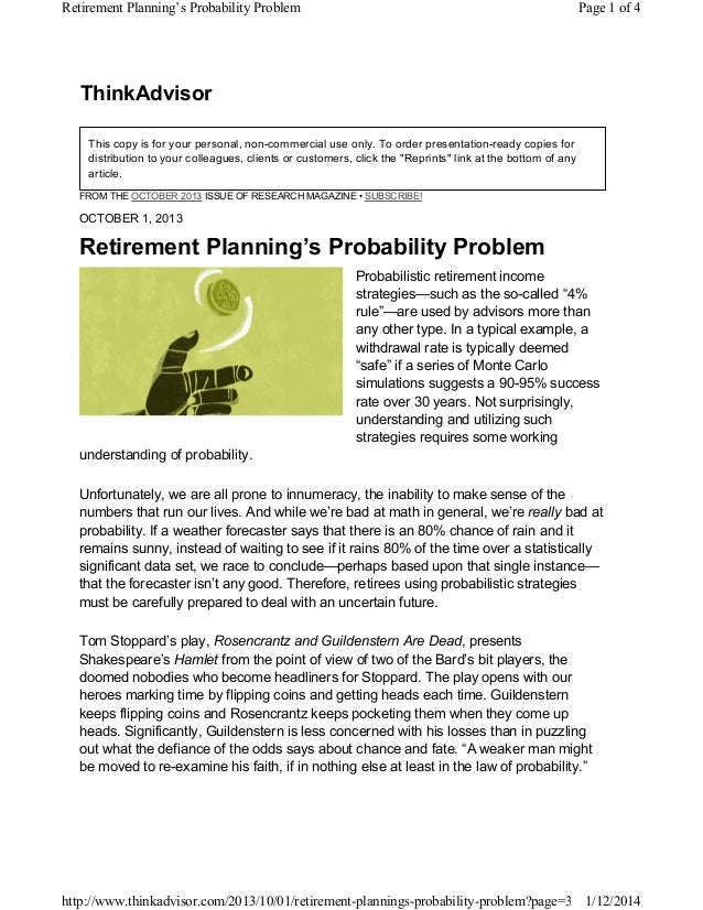 Retirement Planning's Probability Problem  Page 1 of 4  ThinkAdvisor This copy is for your personal, non-commercial use on...
