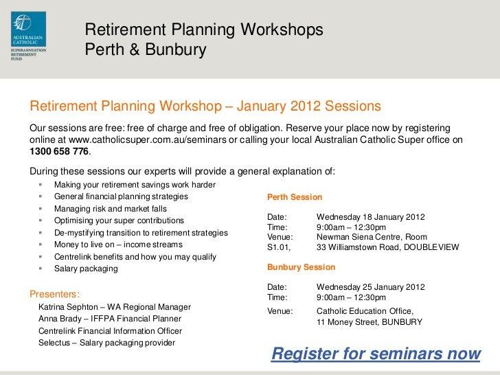 retirement planning workshop seminar perth bunbury