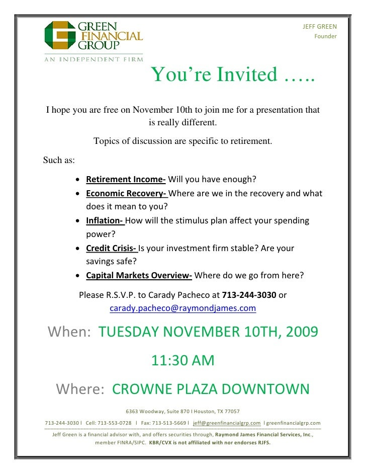 Retirement Seminar Invitation November 10th 2009