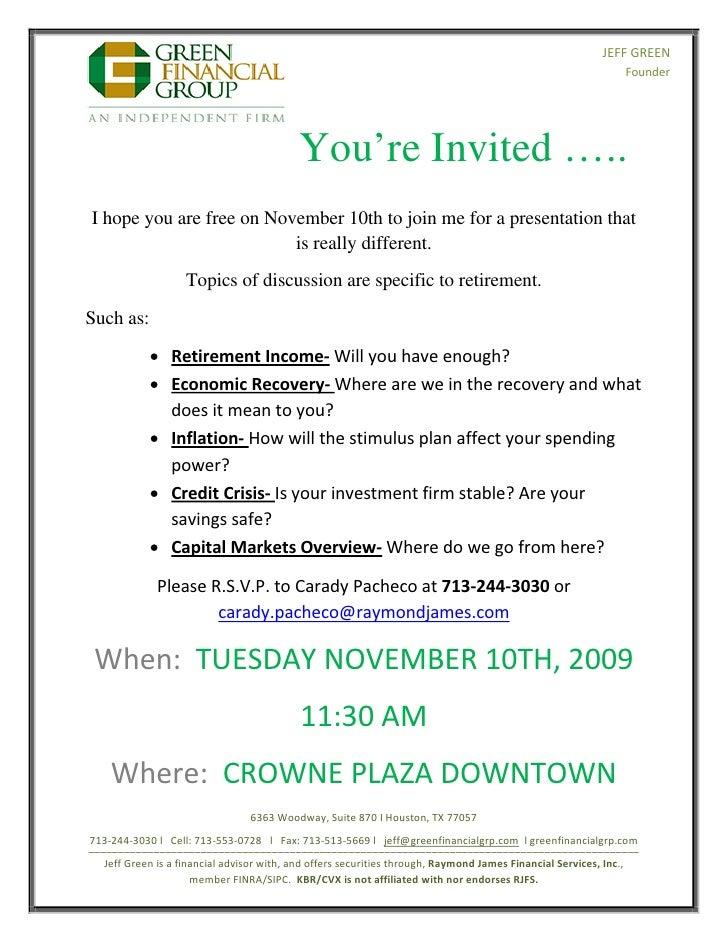 Retirement Seminar Invitation November 10th 2009