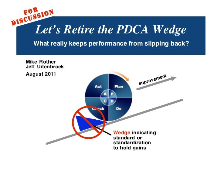 F O RS I O N           SD   I SCU             Let's Retire the PDCA Wedge            What really keeps performance from sl...