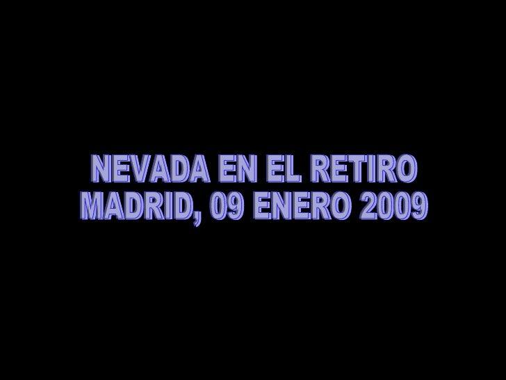 NEVADA EN EL RETIRO  MADRID, 09 ENERO 2009