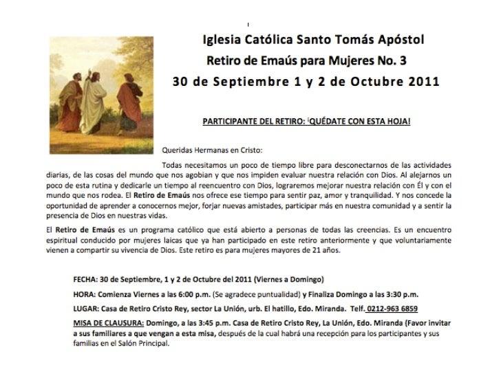 Retiro Espiritual de Emaus para Mujeres @Caracas:ElHatillo - 30Sep&1&2Oct-2011